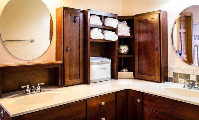 Mueble de lavabo esquinero a medida